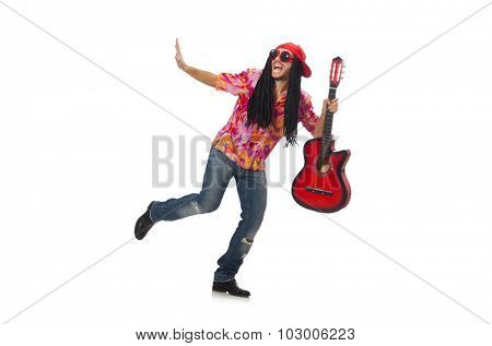 Male musician with guitar isolated on white