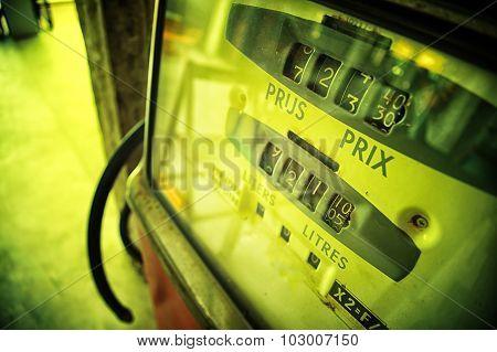 Old Analog Gas Pump Meter, Vintage Effect