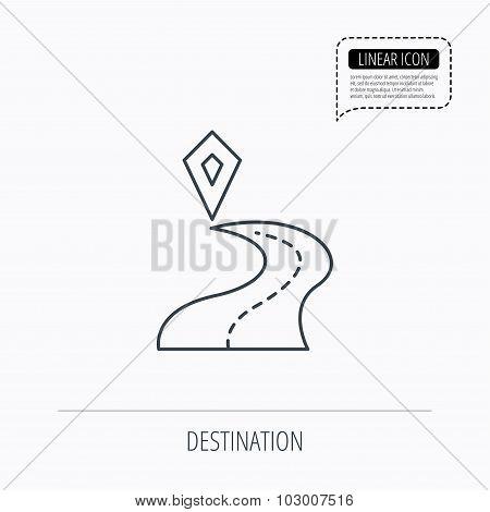 Destination pointer icon. Road location sign.