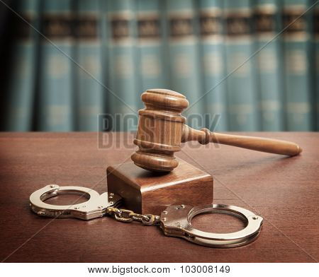 Law concept photo - gavel and handcuffs