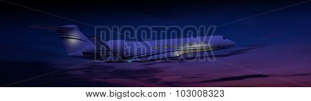 Private jet flying at night