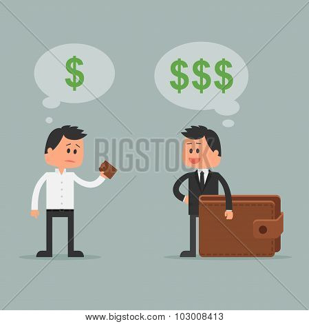 Business concept vector illustration in flat style. Money investment concept. Rich and poor cartoon
