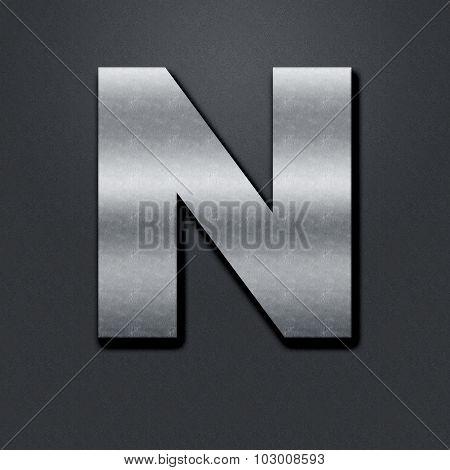 Letter Shabby Metal Chromium - N