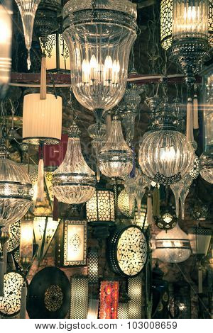 Traditional Old Arabic glass lanterns background, vintage style