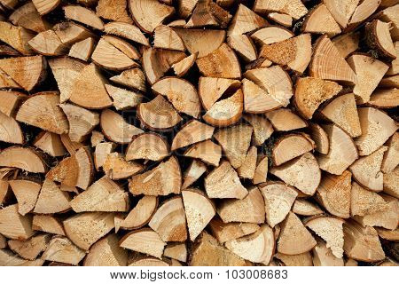 Pile of chopped fire wood, background
