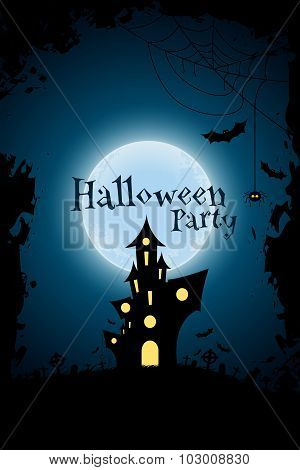 Grungy Halloween Party Background with Haunted House