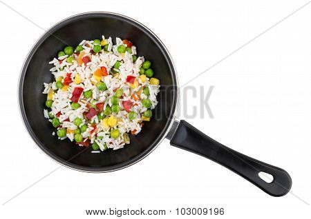 Frying Pan With Vegetable Mix Isolated On White