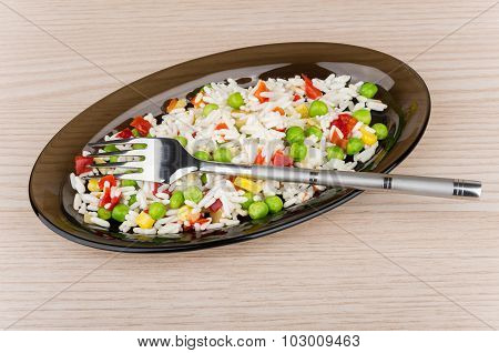 Vegetable Mix In Black Transparent Dish And Fork