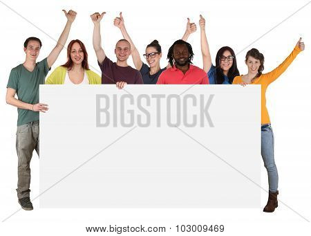 Group Of Young Multi Ethnic People Holding Empty Banner With Copyspace