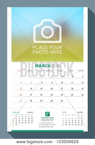 March 2016. Wall Monthly Calendar For 2016 Year. Vector Design Print Template With Place For Photo.