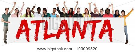 Atlanta Group Of Young Multi Ethnic People Holding Banner