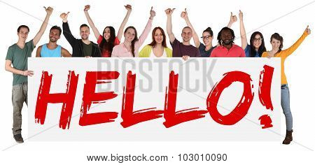 Hello Sign Group Of Young Multi Ethnic People Holding Banner