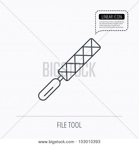 File tool icon. Carpenter equipment sign.