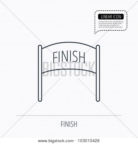 Finish banner icon. Marathon checkpoint sign.