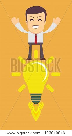 Young Man Having an Idea. Light bulb