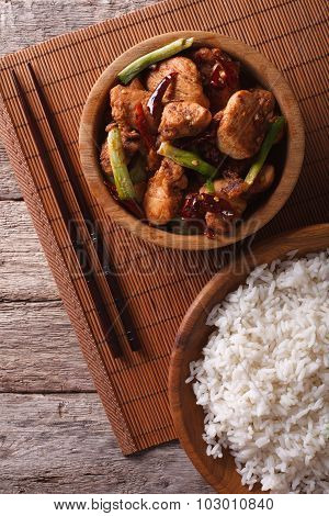 Kung Pao Chicken Fillets In A Bowl Close Up. Vertical Top View