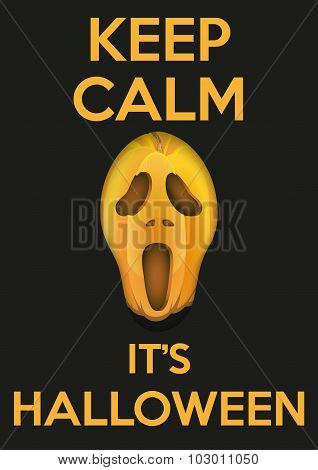 Background Keep Calm with Pumpkins fear face