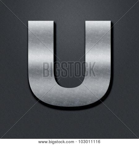 Letter Shabby Metal Chromium - U