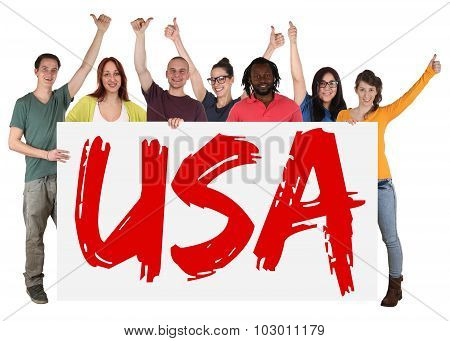 Usa Immigration Group Of Young Multi Ethnic People Holding Banner