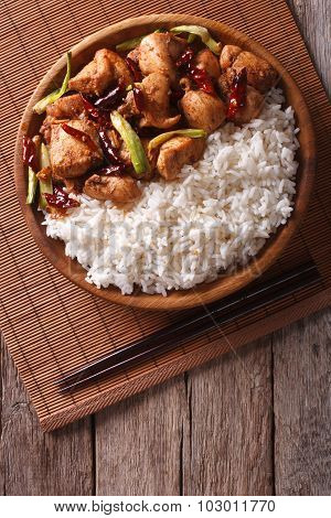 Rice With Spicy Kung Pao Chicken. Vertical Top View