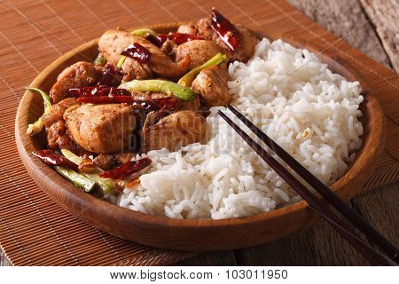 Chinese Food: Chicken Kung Pao With Rice Close-up. Horizontal