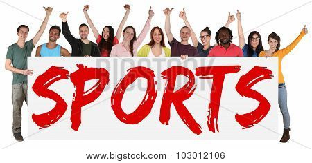 Sports Group Of Young Multi Ethnic People Holding Banner