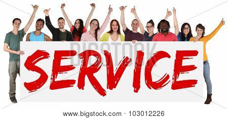 Service Concept Group Of Young Multi Ethnic People Holding Banner