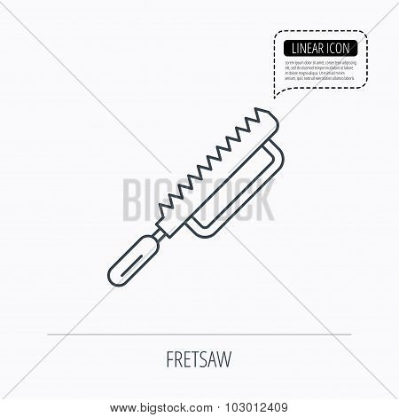 Fretsaw icon. Carpenter work tool sign.