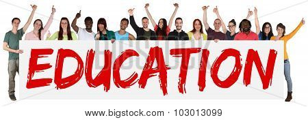 Education Concept Group Of Young Multi Ethnic People Holding Banner