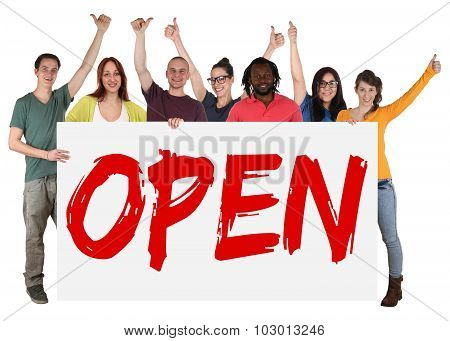 Open Opening Store Shop Young People Holding Banner