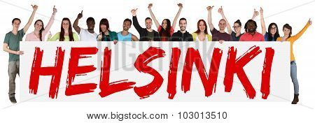 Helsinki Group Of Young Multi Ethnic People Holding Banner