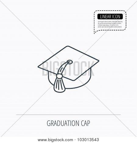 Graduation cap icon. Diploma ceremony sign.