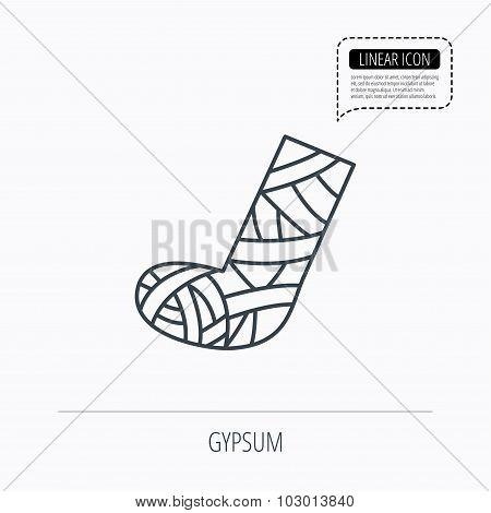 Gypsum or cast foot icon. Broken leg sign.