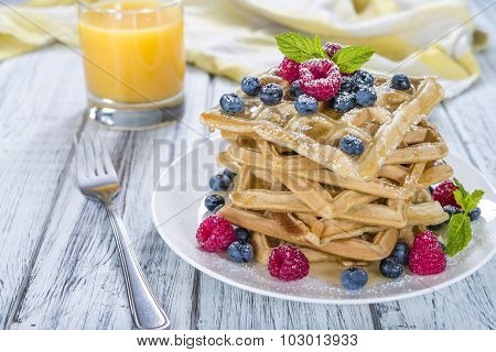Homemade Waffles With Mixed Berries