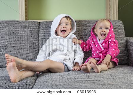 Happy Toddlers After Bath Time