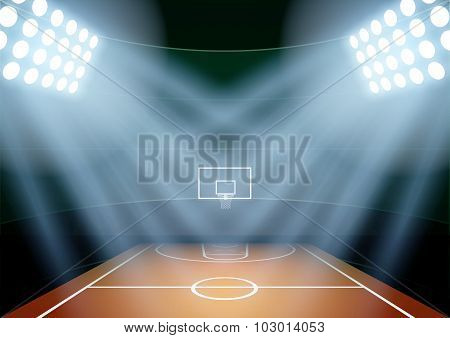 Background for posters night basketball stadium in the spotlight.