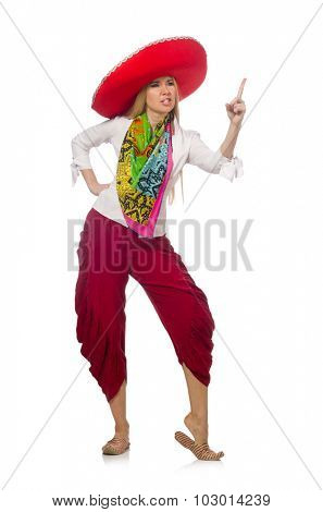 Mexican girl with sombrero dancing on white