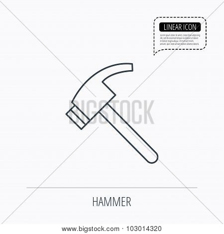 Hammer icon. Repair or fix tool sign.