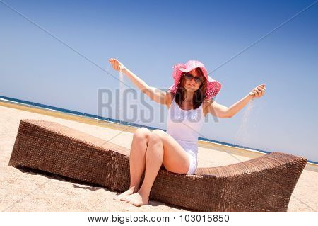 Woman Enjoying On The Beach