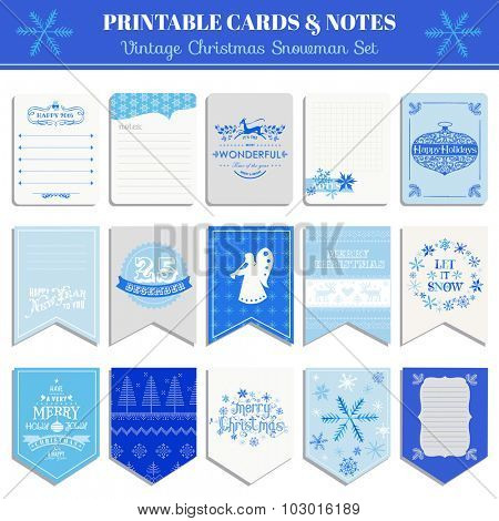 Christmas Retro Snowflakes Set - tags, cards, banners, labels, - in vector