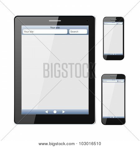Smart phone, with internet browser window on the screen