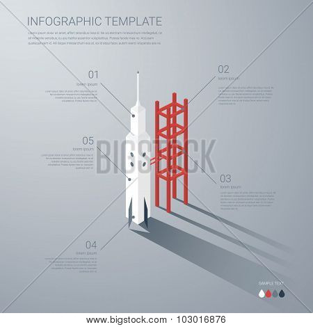 Startup business infographics template. Start-up infographic elements with rocket in isometric flat
