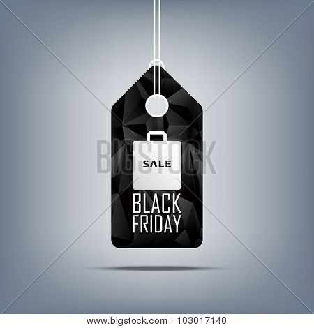 Black friday sale price tag with shopping bag. Low poly design sales symbol. 3d polygonal shape back