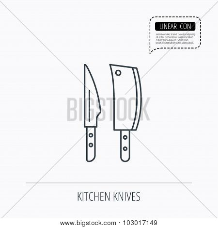 Butcher and kitchen knives icon.