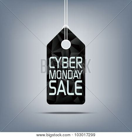 Cyber Monday sale price tag. Low poly design sales symbol. 3d polygonal shape background.