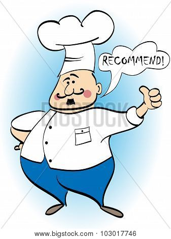 Chef Recommends A Dish. Vector Illustration