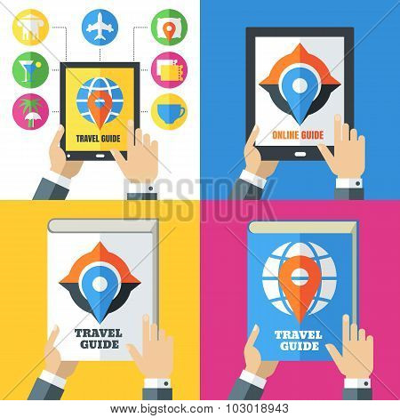 Set Of Flat Abstract Travel Icons And Backgrounds.