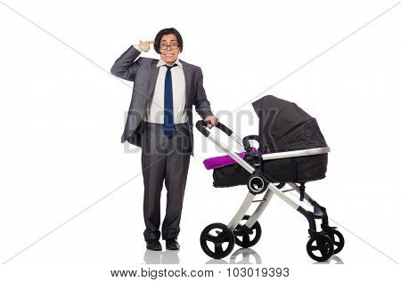 Funny dad with baby and pram on white