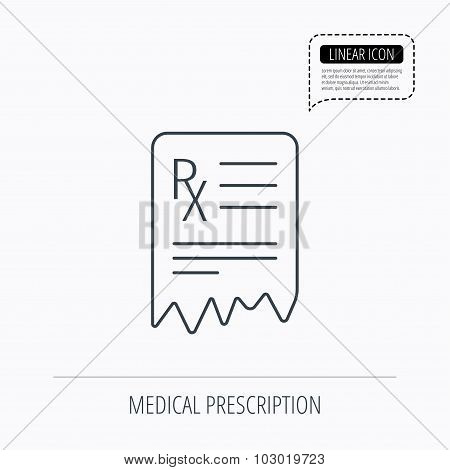 Medical prescription icon. Health document sign.