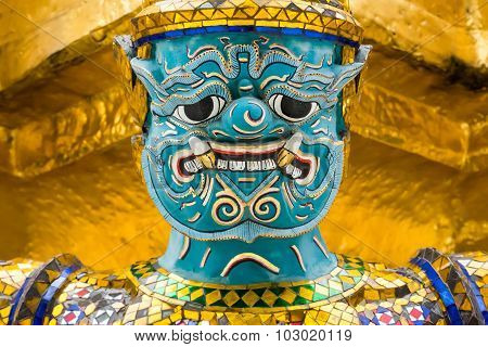 Close Up Of Guardian Demon At Grand Palace In Bangkok, Thailand